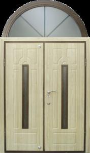 Дверь в частный дом, арочная двустворчатая с остеклением